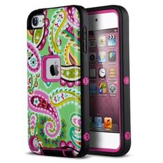 ULAK iPod Touch 5 case,iPod Touch 6 Case,Hybrid 3-piece Hard Pattern with Silicon Case Cover (Rose Pink/Black) - Walmart.com