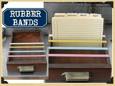 Great idea! Use rubberbands across any box or drawer for an instant way to stand up recipes, addresses, etc.
