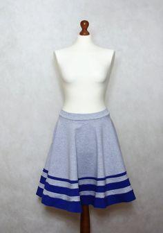 Grey skirt, blue skirt, midi skirt, cotton skirt