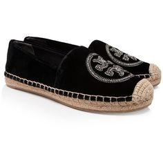 Tory Burch Minnie Embellished Two-Way Ballet Flats ($250) ❤ liked on Polyvore featuring shoes, flats, black, ballerina shoes, black flats, embellished black flats, embellished flats and ballet shoes