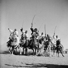"Hassau chieftains demonstrate their superb horsemanship in a ""Fantasia"", N'Djamena, Chari-Baguirmi, Chad | George Rodger"