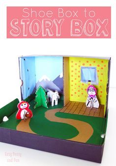 Story Box {Shoe Box Craft} – Easy Peasy and Fun - Ostergeschenke Basteln Projects For Kids, Diy For Kids, Crafts For Kids, Puppet Crafts, Cardboard Toys, Crafty Kids, Craft Box, Red Riding Hood, Easy Peasy