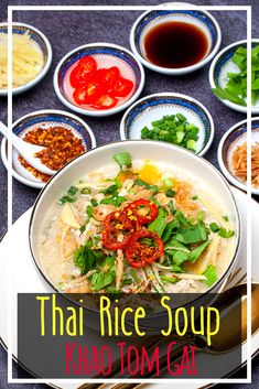 Learn how to make Khao Tom Gai with this chicken congee recipe - a delicious, tasty rice soup. Soup Appetizers, Appetizer Recipes, Soup Recipes, Dinner Recipes, Laos Recipes, Drink Recipes, Tasty Thai, Chicken Rice Soup, Spicy Chicken Recipes