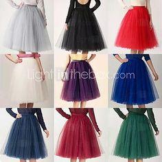 Slips Slip Knee-Length 4 Tier/Tulle 50s  Ball Gown Retro Underskirt Swing Vintage Tutu Petticoat(More Colors) - USD $29.99