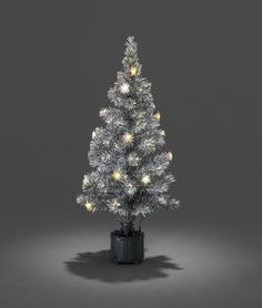 Snow Tipped Fibre Optic Christmas Tree with Stars