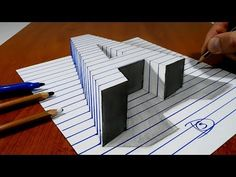 "3D Trick Art on Paper, Letter ""A"" with Graphite Pencil - YouTube"