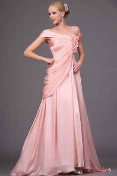 2014 Chic & Modern Prom Dress Empire Waist Off The Shoulder Asymmetrical Chiffon Handmade Flower In UK $265.68 2014 New Arrival