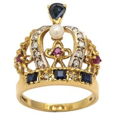Pearl Ruby Sapphire Diamond Gold Crown Ring | From a unique collection of vintage fashion rings at https://www.1stdibs.com/jewelry/rings/fashion-rings/