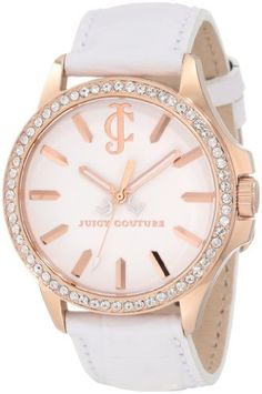 Juicy Couture Women's 1900968 Jetsetter White Leather Strap Watch Juicy Couture. $225.00. 38 mm rose-gold plated stainless steel round case. White croc embossed leather strap. Japanese quartz movemet. White swarovski crystal set bezel. Water-resistant to 30 M (99 feet)