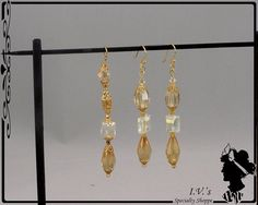 Gold Crystal Pendant and Earring Set by IVsSpecialtyShoppe on Etsy