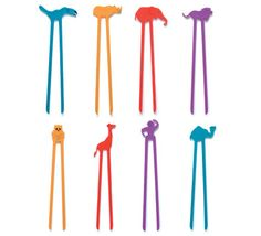 Zoo Sticks: The easiest chop sticks you'll ever use.  The one piece design makes picking up food a snap.  Comes in eight fun animal shapes with bright colors.  M- I found: purple toucan, yellow lion, blue elephant, & red monkey & rhino. (GW 3.00) Also Farm, Dino, Fish, Dip (cars) & Ninja available. 2.50