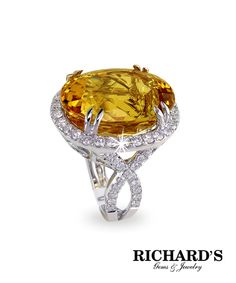 Oval Golden Beryl and Diamond Ring in 18K White Gold
