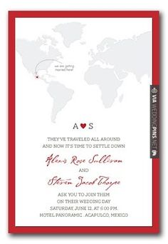 Neat - travel-themed invitation   CHECK OUT MORE IDEAS AT WEDDINGPINS.NET   #weddings #travel #travelthemes #weddingplanning #coolideas #events #forweddings #weddingplaces #romance #beauty #planners #weddingdestinations #travelthemedweddings #romanticplaces #eventplanners #weddingdress #weddingcake #brides #grooms #weddinginvitations