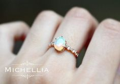 White Gold Opal Engagement Ring with Diamond 14K or 18K Solid