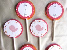 12 Baby Shower Cupcake Toppers - Baby Chick theme; can do baby boy or girl - pick your own colors - http://babyshower-cupcake.com/12-baby-shower-cupcake-toppers-baby-chick-theme-can-do-baby-boy-or-girl-pick-your-own-colors/