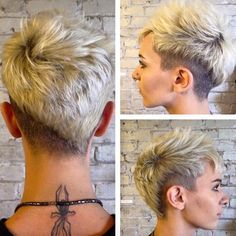 Short hairstyles LADIES – Wonderful, unique ideas: women hairstyles with glasses bangs degrees … - Frisur Ideen Undercut Pixie, Undercut Hairstyles, Funky Hairstyles, Short Hairstyles For Women, Pixie Haircuts, Super Short Hair, Short Curly Hair, Short Pixie, Short Hair Cuts