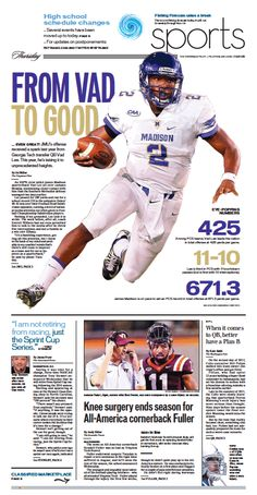 The Virginian-Pilot's Sports front page for Thursday, Oct. 1, 2015.