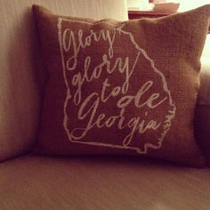 Burlap Pillow Glory Glory to Ole Georgia UGA by TwoPeachesDesign Georgia Girls, Georgia On My Mind, Burlap Fabric, Burlap Pillows, Southern Comfort, Southern Charm, Southern Pride, But Football, Football Decor