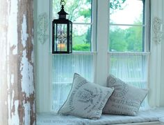 flour sack pillows | Hammers and High Heels: Radiator Cover: Window Seat Decorating