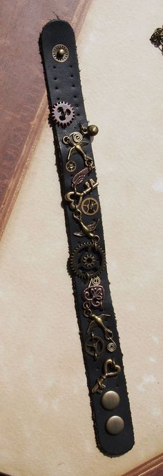 Leather Steampunk Bracelet. $24.00, via Etsy.