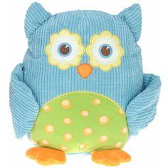 Pluche knuffel uil blauw 28 cm. Pluche knuffel uiltje van ribstof met vrolijk printje op de buik. De knuffel is ongeveer 28 cm groot.