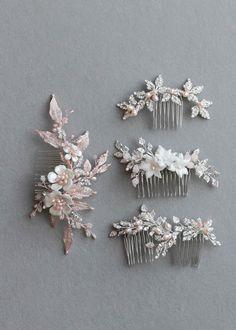Silver and blush bridal hair combs 2