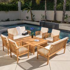 Carolina 8-piece Outdoor Acacia Sofa Set by Christopher Knight Home