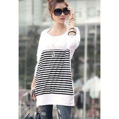 Scoop Neck Long Sleeves Long Stripe T Shirt