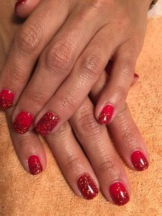 Nails by Mindy 816-914-8987 Historical square Liberty, MO Sexy red glitter Shelley gel polish