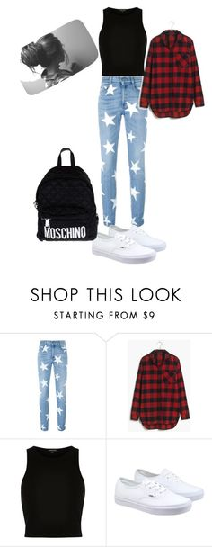 """""""edgy school outfit"""" by treasure-marie ❤ liked on Polyvore featuring STELLA McCARTNEY, Madewell, River Island, Vans, Moschino, women's clothing, women's fashion, women, female and woman"""