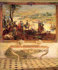 La Chasse Louis XV Tapestry, Château de Fontainebleau / Walter Gay