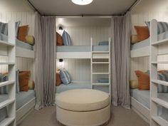 Bunk Room. Six Bun Beds in Bunk room. Bunk Room Layout. Bunk Bed Layout. #BunkRoom #BunkBeds #Layout Hickman Design Associates.