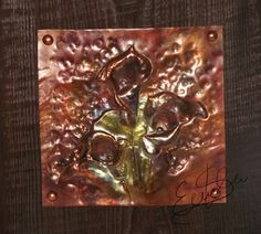 Lilys repoussed in copper, stained with fire and riveted to more than 100 years olds board. My Works, Metal Working, Copper, Art, Art Background, Kunst, Brass, Gcse Art, Art Education Resources