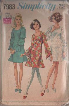MOMSPatterns Vintage Sewing Patterns - Simplicity 7983 Vintage 60's Sewing Pattern THE BEST Mod Twiggy Lace Mini Dress, Trumpet Skirt Angel Bell Sleeved or Balloon