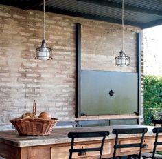 tapa para parrilla con estilo rustico Decor, House Design, Patio Kitchen, Outdoor Furniture Sets, Built In Braai, Living Room Designs, Deco, Sweet Home, Interior