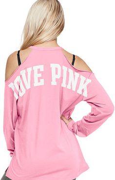 94c26cc593aa0 Love PINK Cold Shoulder Long Sleeve Campus Tee Pink Wardrobe