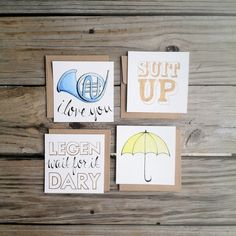 """Set of Four """"How I met Your Mother"""" Cards, HIMYM flat card pack, HIMYM hand lettered stationary"""