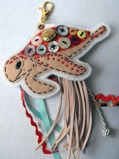 Sea Turtle bag charm - I'm a huge fan of Lizzybeth's felties <3