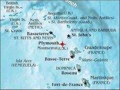 Montserrat Island location in the Caribbean Sea