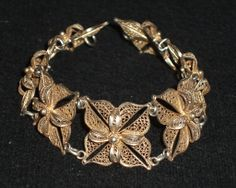 Vintage Signed Topazio Filigree Bracelet, Gold Washed Sterling. Topazio of Portugal was established in Portugal in 1874 and has been renowned for their silver work for several decades. Mid-century.