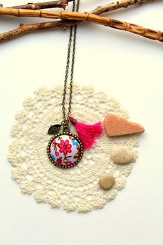 Necklace cabochon fabrik flowers rose