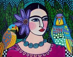 60% Off- Mexican Folk Art - Parrot Art Print Frida Kahlo with her Parrots Poster of Painting (HG649)