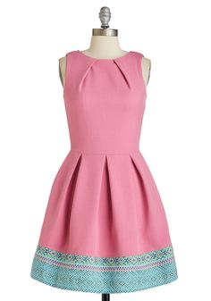 Luck Be a Lady Dress in Pink and Tapestry, #ModCloth