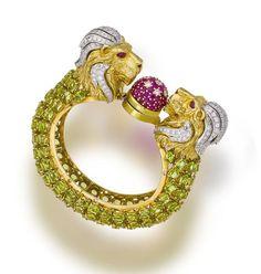 A peridot, ruby and diamond bracelet
