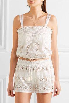 Miguelina - Georgina Scalloped Cotton-lace Top - White -