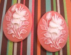 Plastic Rose Cameos   White on Angel Skin  by beadbarnsupplies, $2.00