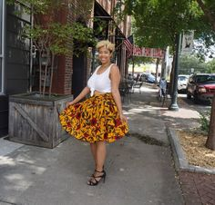 Colorful Floral Skirt with White Crop Top and Black High Heels- Lexi with the Curls
