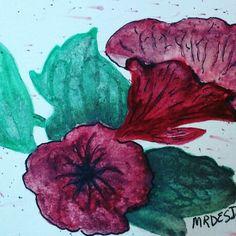 "The Petunia ""God's Beautiful World"" watercolor by MindyRDesigns www.etsy/shop/MindyRDesigns"