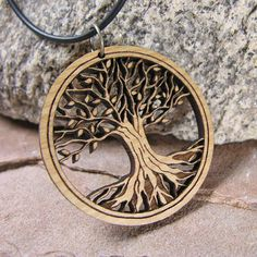 Tree of Life Pendant Sustainable Wood Jewelry Medium by BijouxBee, $18.00