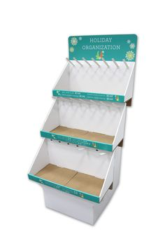 Corrugated displays are ideal for holiday accessories.  This custom three-tiered solution gives floor space and and provides both peg and tray showcasing space.  See other custom ideas on our website.  (POP Displays, Temporary Displays, Corrugated Displays)